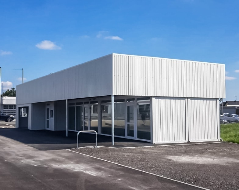 Container based car dealership showroom